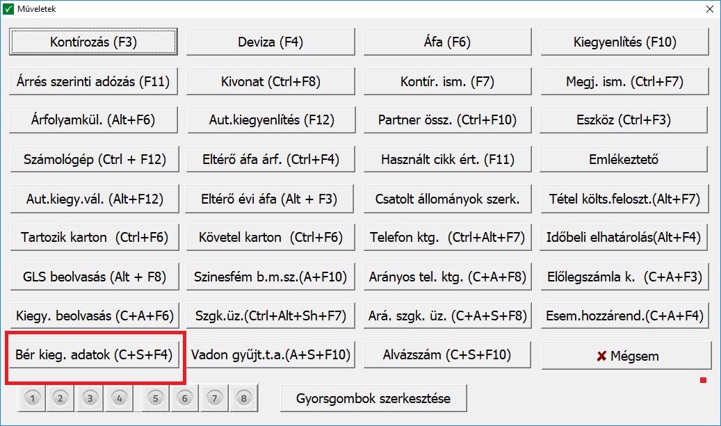 Bér. kieg. adatok rögzítése NTAX programban