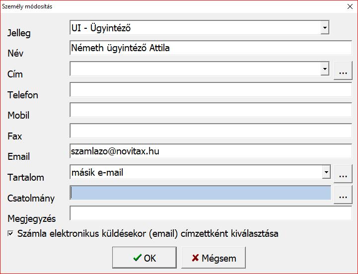 E-mail címek rögzítése