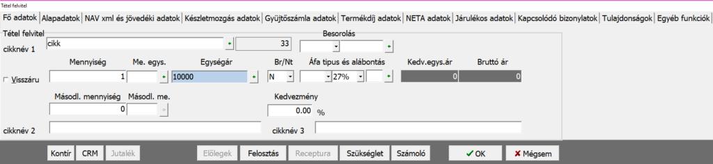 Tétel képernyő