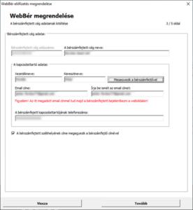 WebBér regisztráció-Bérszámfejtett cég megadása