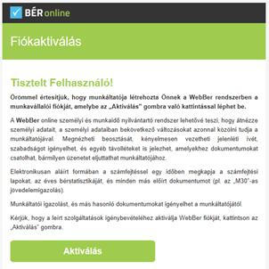 Fiókaktivációs e-mail