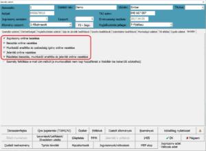 WebBér beállítások a személyi adat képernyőn
