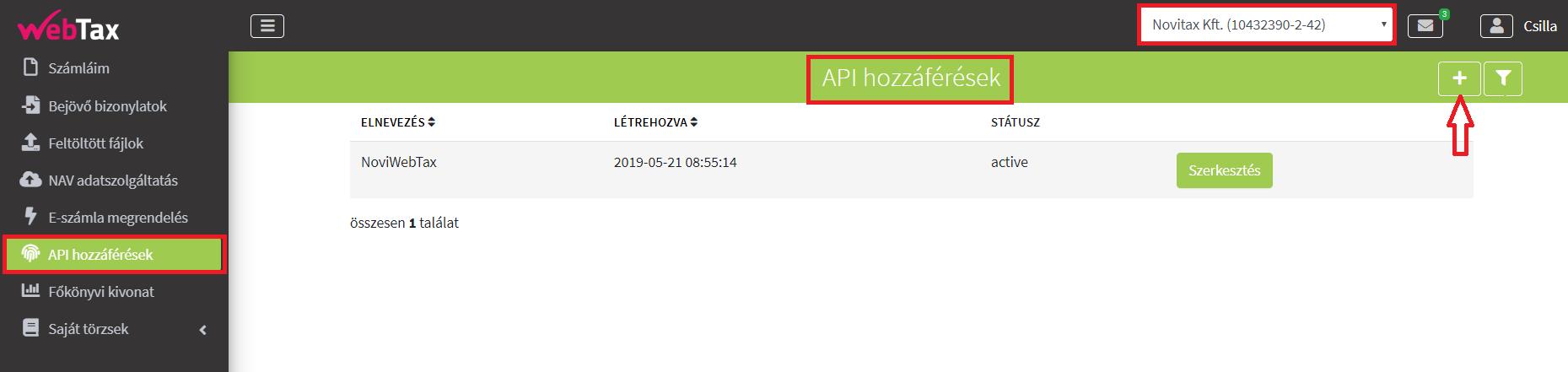 API Hozzáférés felvitel_a