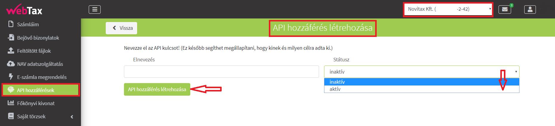 API Hozzáférés létrehozása