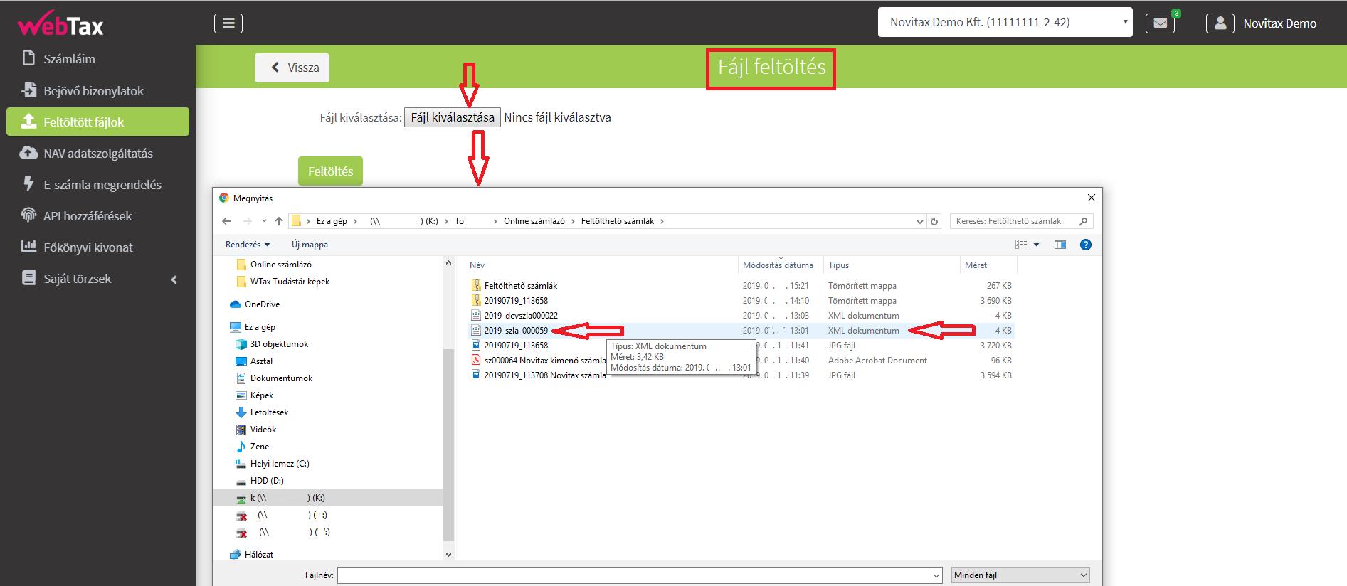 Bejövő bizonylatok_fájl feltöltés NAV XMLfeltöltés