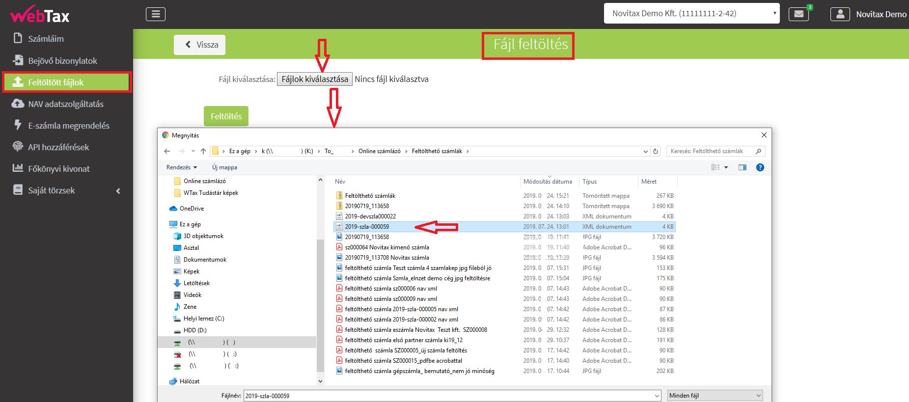 Fájl feltöltöltés NAV XML betöltése