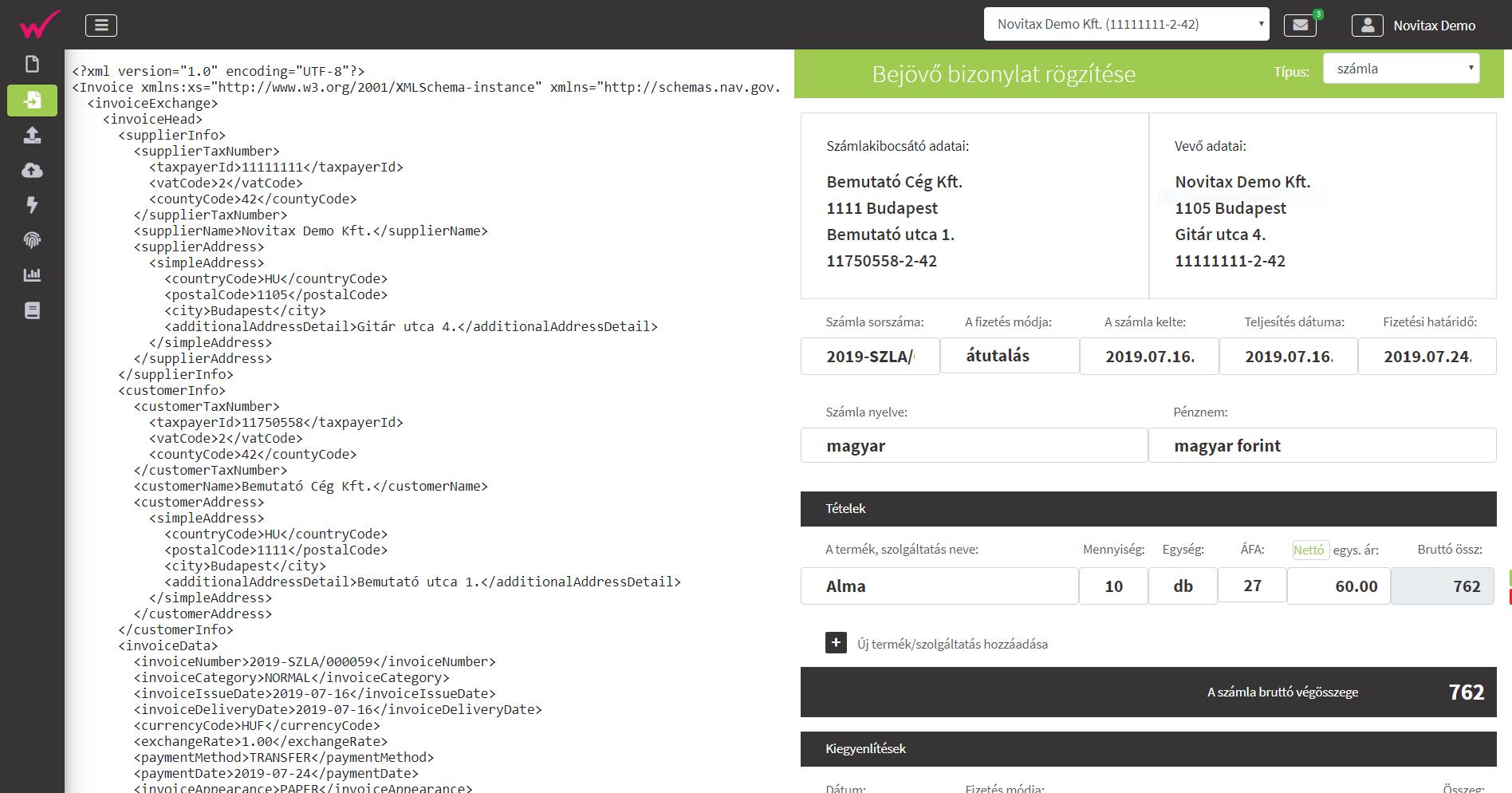 Fájl feltöltöltés NAV XML betöltött fájl rögzítése