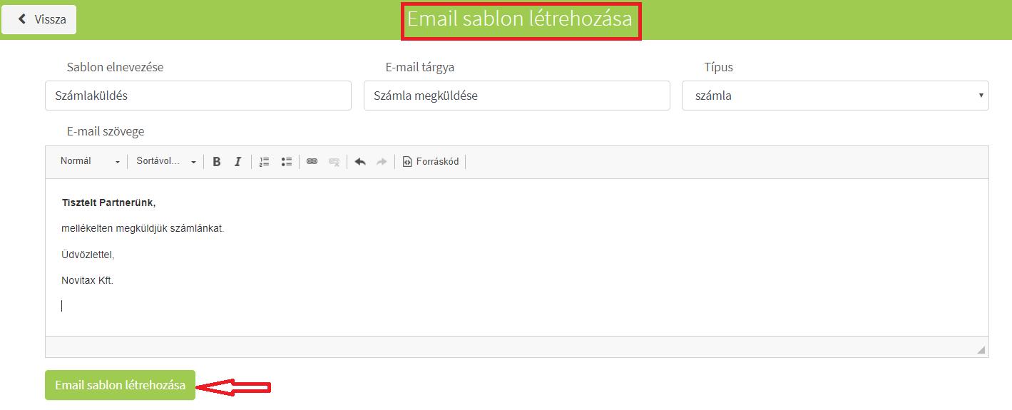Saját törzsek_Email sablonok létrehozása