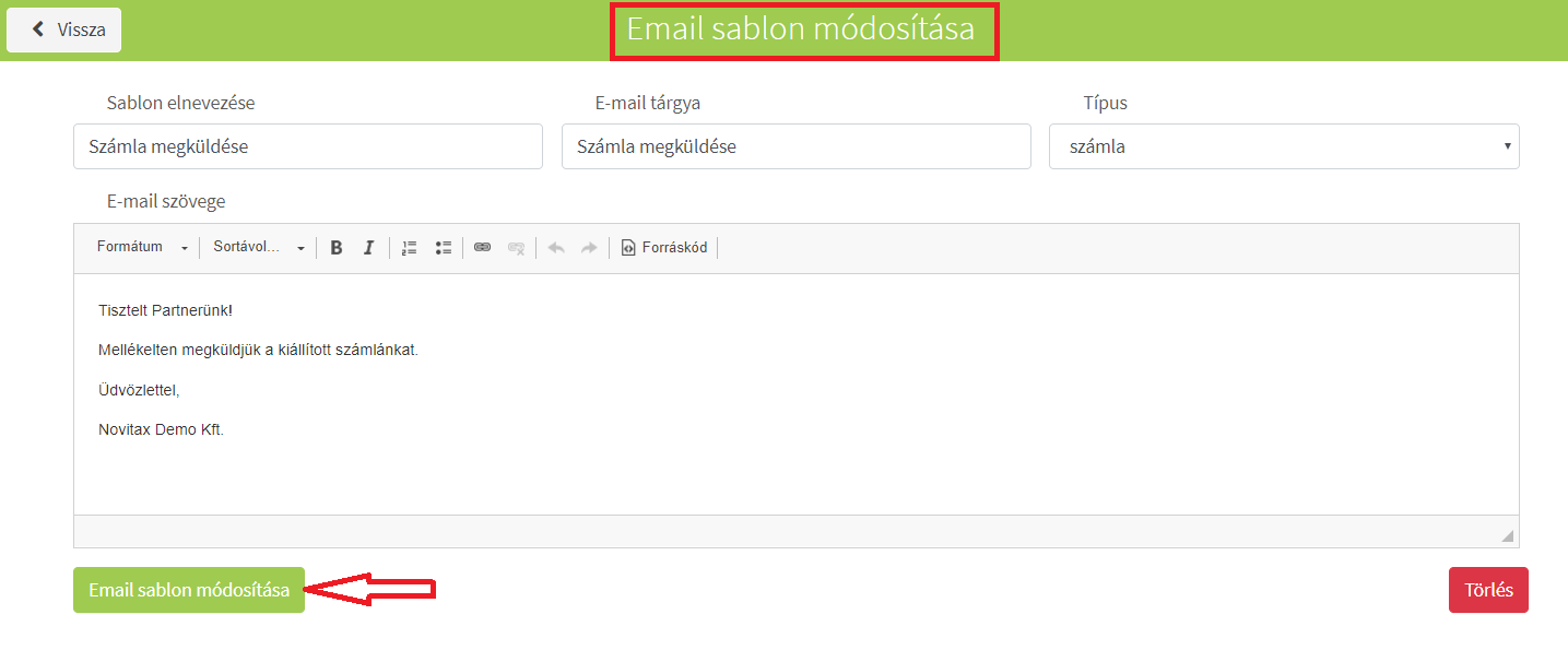 Saját törzsek_Email sablonok módosítás