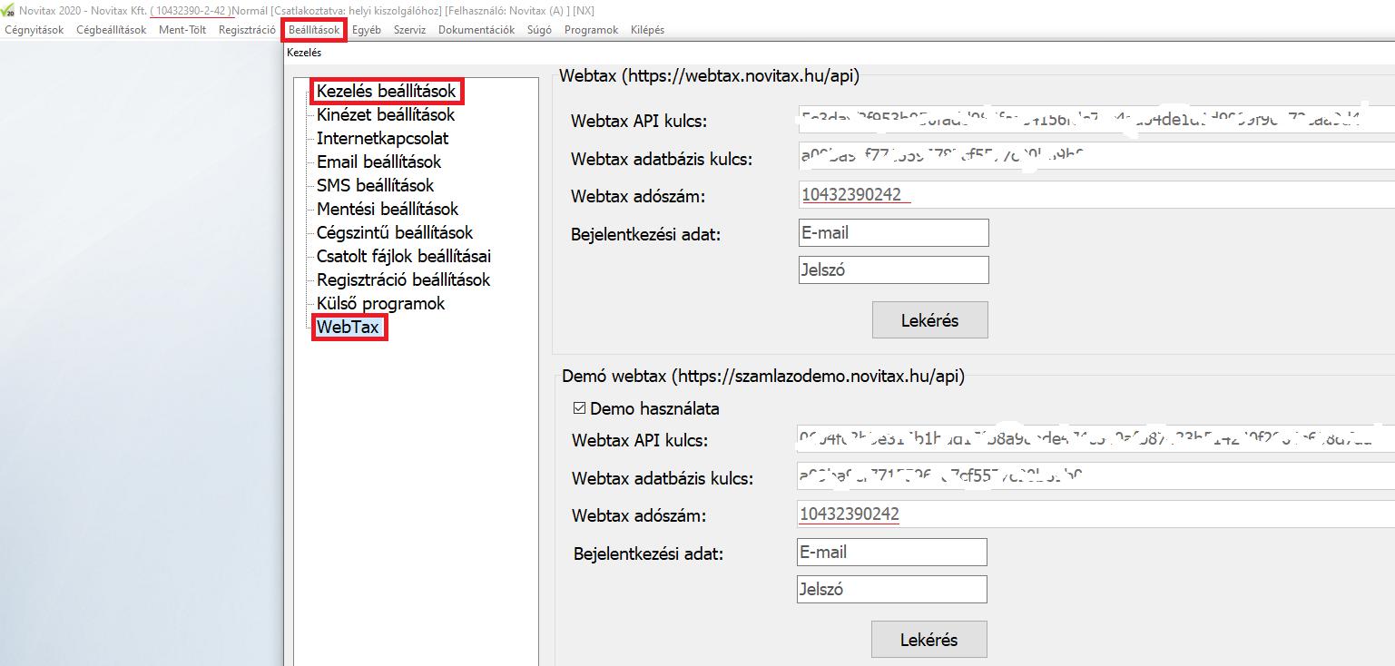 Feladás NTAX kettősbe Wintax állítás 1