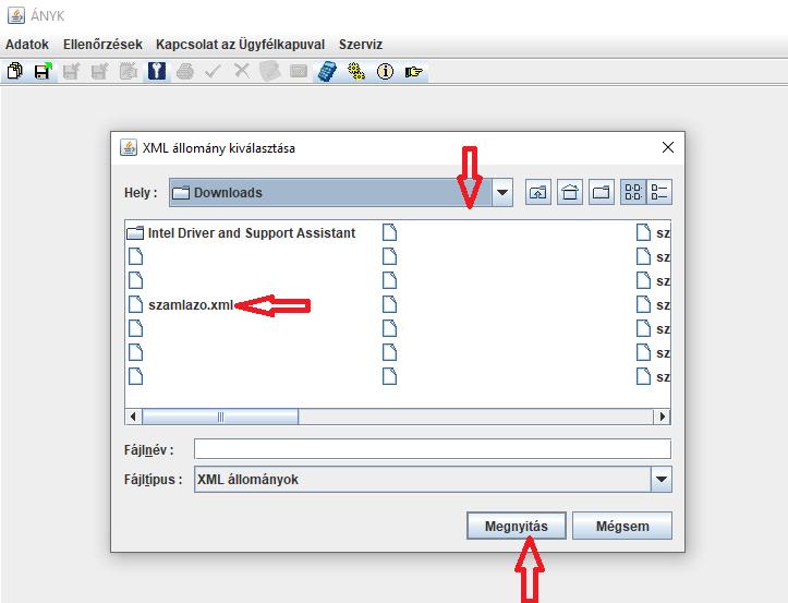 Számlázóprogram bejelentés ÁNYK XML fájl kiválasztása a
