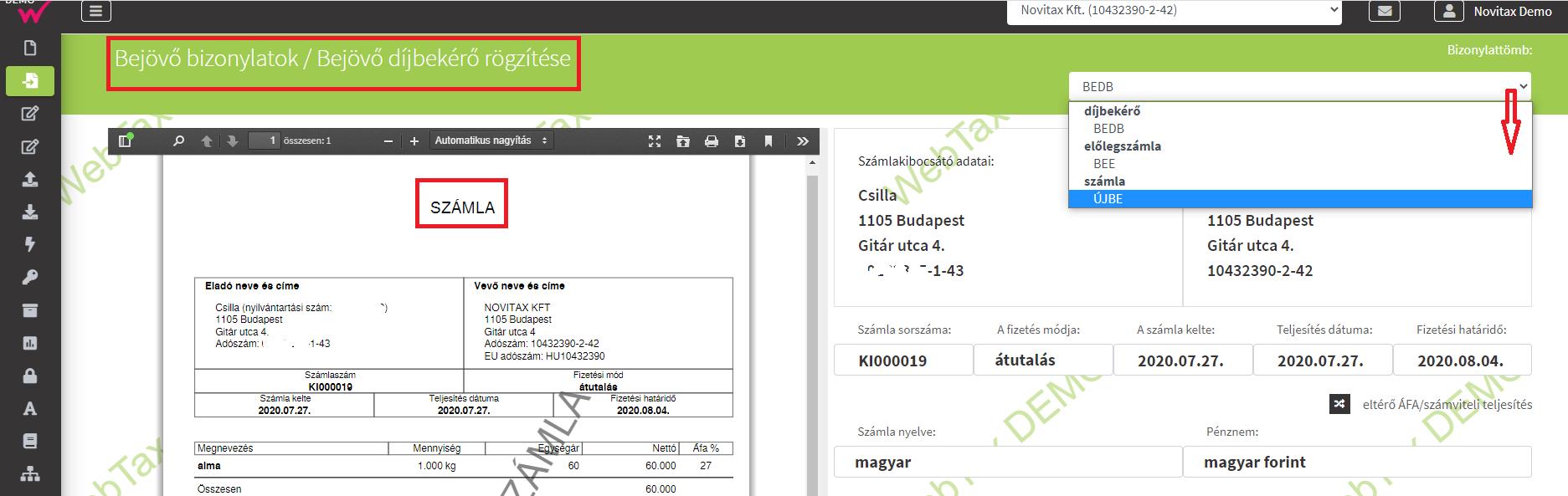 Bejövő bizonylat végszámla PDF rögzítés feltöltött fileból szlatömb választással