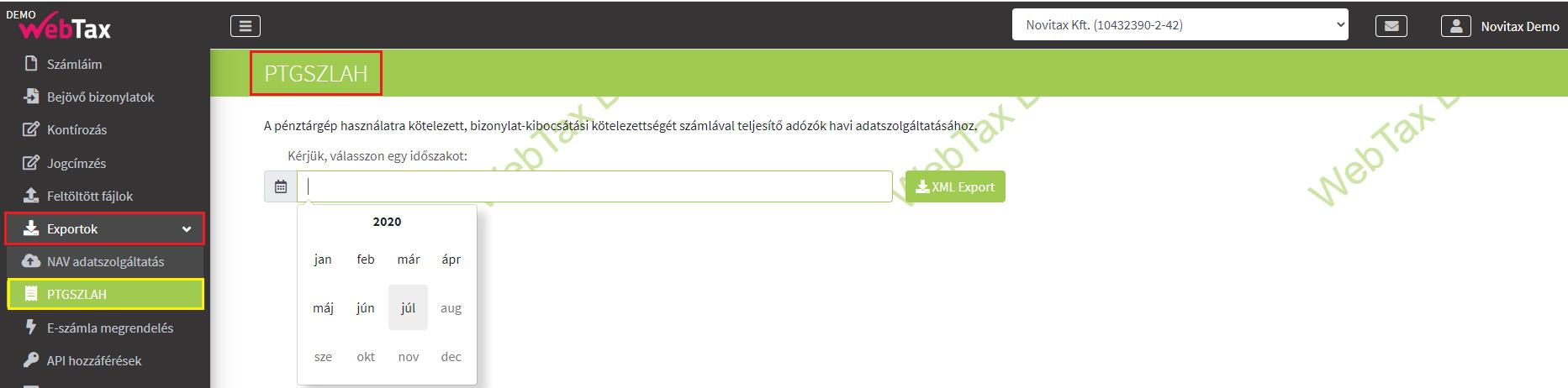 PTGSZLAH exportok ptgszlah nyomtatványhoz lekérdezés