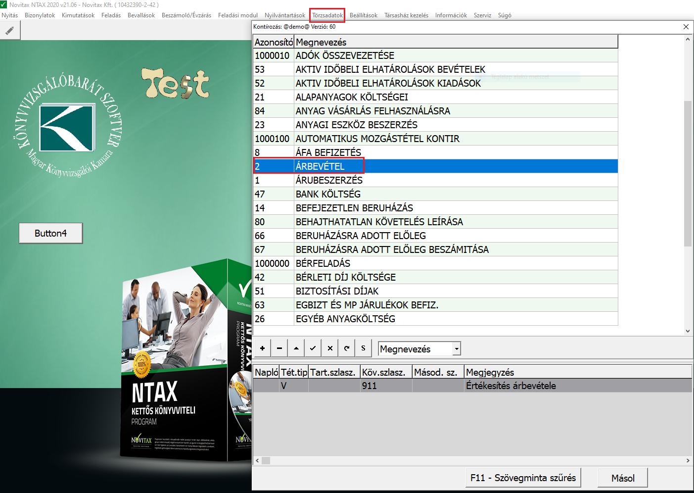 NTAX törzsadat szinkronizálás kontírkódok ntax törzsben webtaxra kiválasztása 1