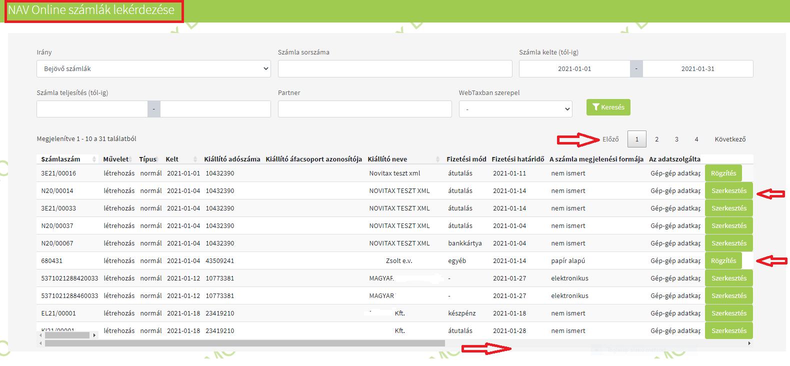 Importok Számla import NAV XML listában szerkesztés rögzítési lehetőség