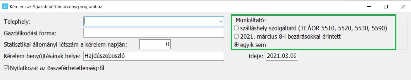 Támogatási kérelem - munkáltató paraméter