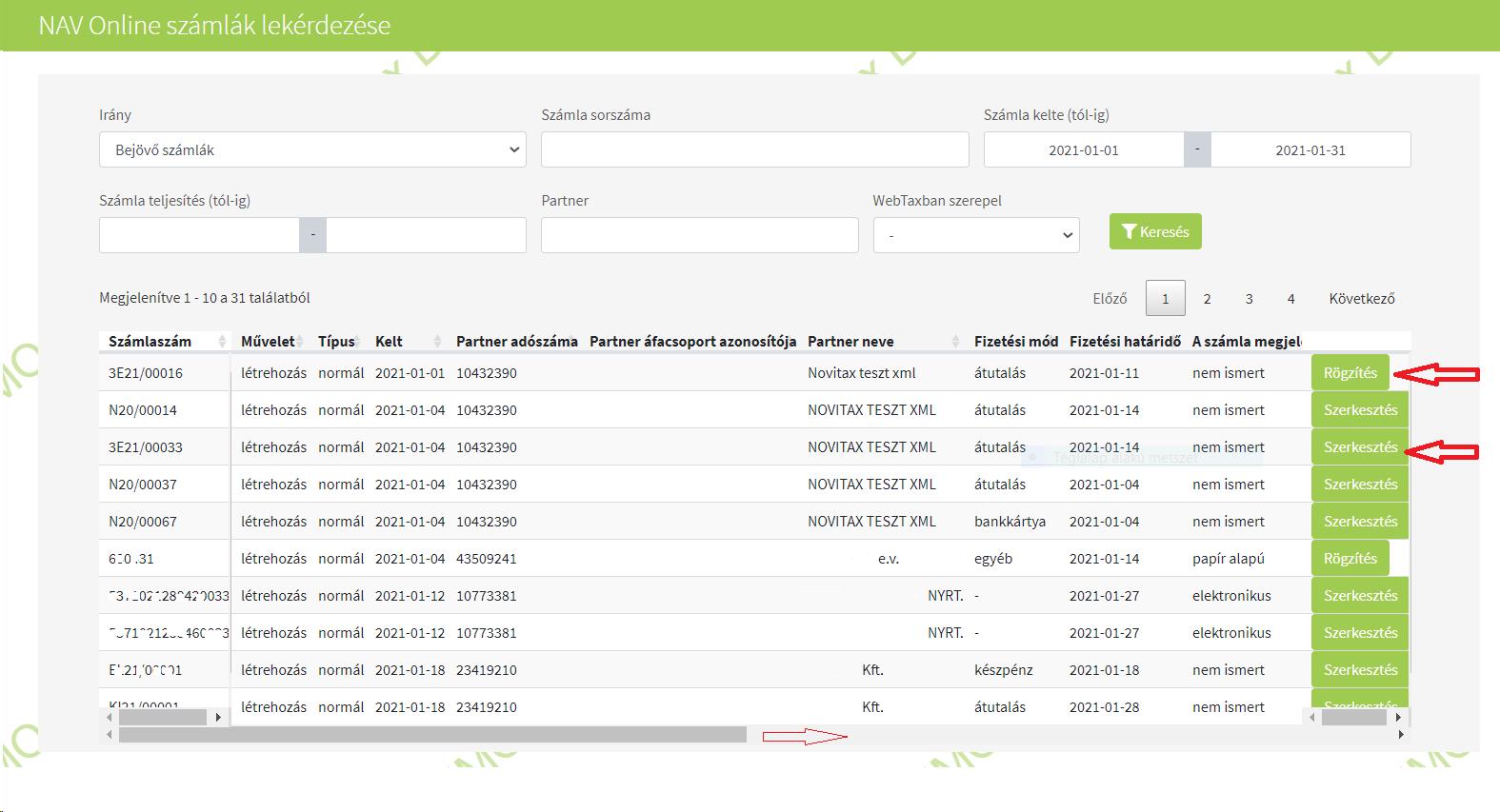 Importok Számla import NAV xml webes megjelnítéssel szűrés utáni képernyő