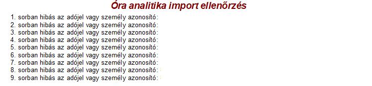 Óra-analitika import ellenőrzés