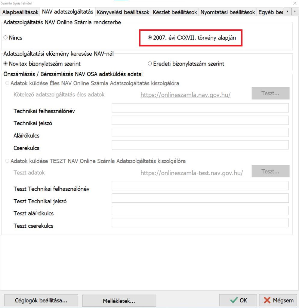 Számla típus felvitel – NAV adatszolgáltatás